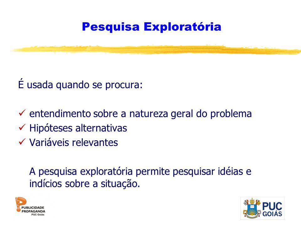 Pesquisa Exploratória É usada quando se procura: entendimento sobre a natureza geral do problema Hipóteses alternativas Variáveis relevantes A pesquis