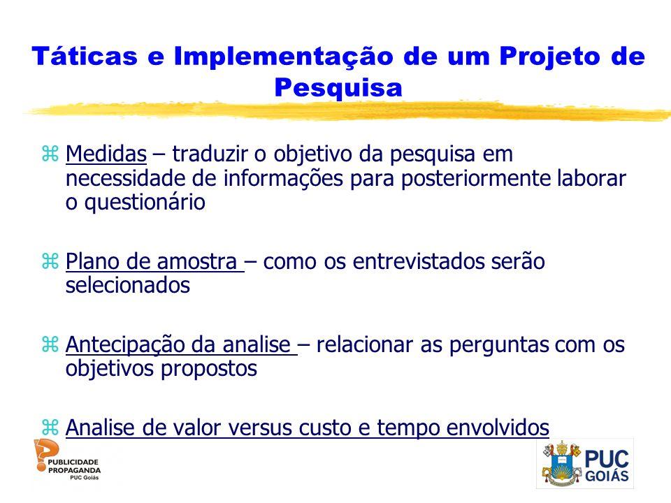 Táticas e Implementação de um Projeto de Pesquisa zMedidas – traduzir o objetivo da pesquisa em necessidade de informações para posteriormente laborar