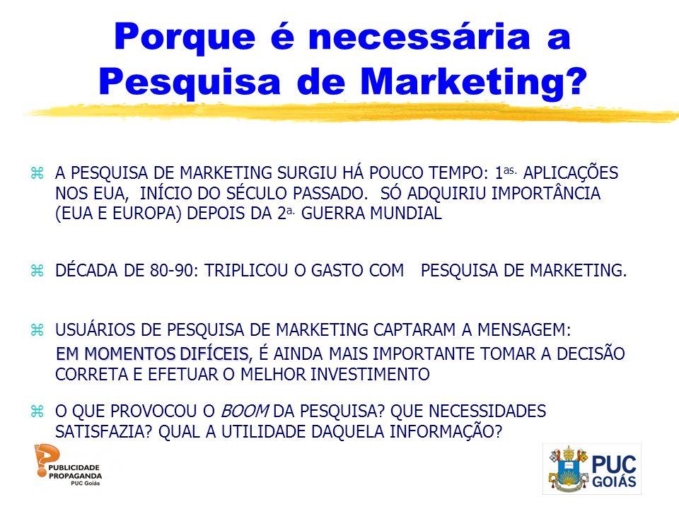 Porque é necessária a Pesquisa de Marketing? zA PESQUISA DE MARKETING SURGIU HÁ POUCO TEMPO: 1 as. APLICAÇÕES NOS EUA, INÍCIO DO SÉCULO PASSADO. SÓ AD