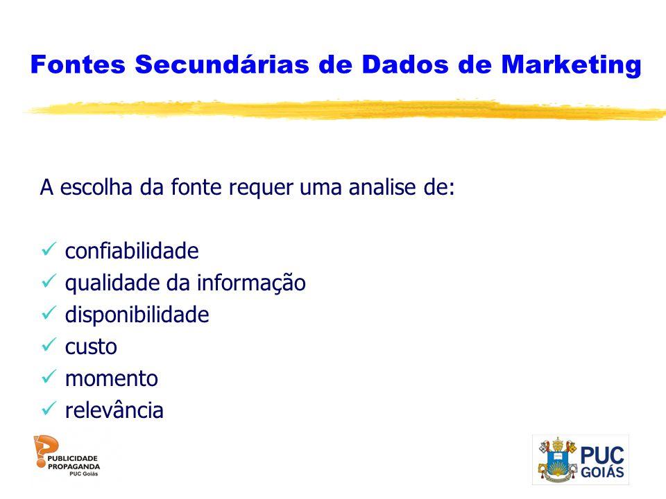 Fontes Secundárias de Dados de Marketing A escolha da fonte requer uma analise de: confiabilidade qualidade da informação disponibilidade custo moment