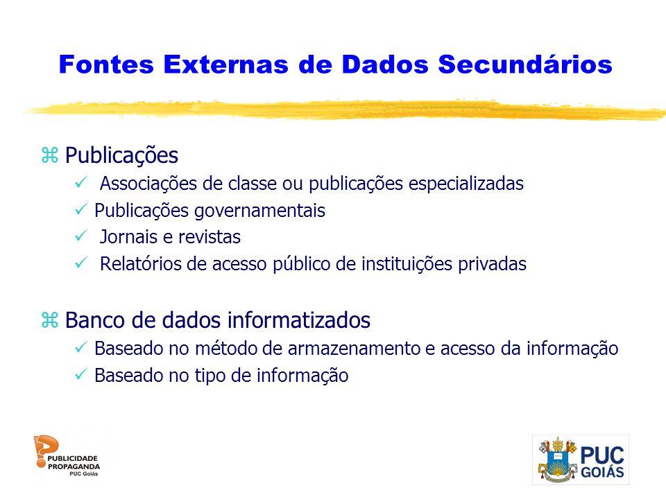 Fontes Externas de Dados Secundários zPublicações Associações de classe ou publicações especializadas Publicações governamentais Jornais e revistas Re