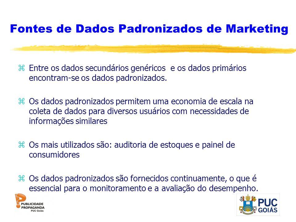 Fontes de Dados Padronizados de Marketing zEntre os dados secundários genéricos e os dados primários encontram-se os dados padronizados. zOs dados pad