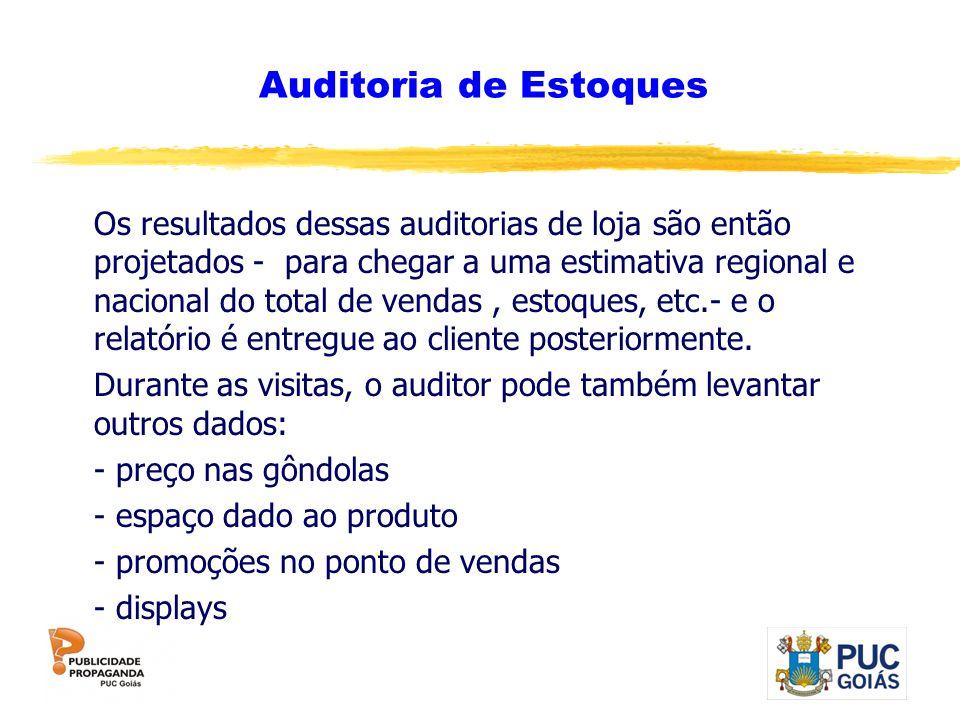 Auditoria de Estoques Os resultados dessas auditorias de loja são então projetados - para chegar a uma estimativa regional e nacional do total de vend