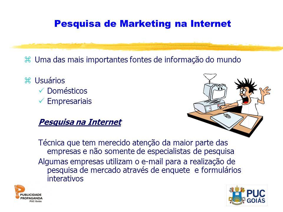 Pesquisa de Marketing na Internet zUma das mais importantes fontes de informação do mundo zUsuários Domésticos Empresariais Pesquisa na Internet Técni