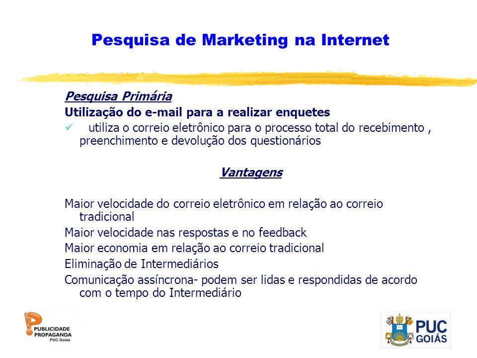 Pesquisa de Marketing na Internet Pesquisa Primária Utilização do e-mail para a realizar enquetes utiliza o correio eletrônico para o processo total d