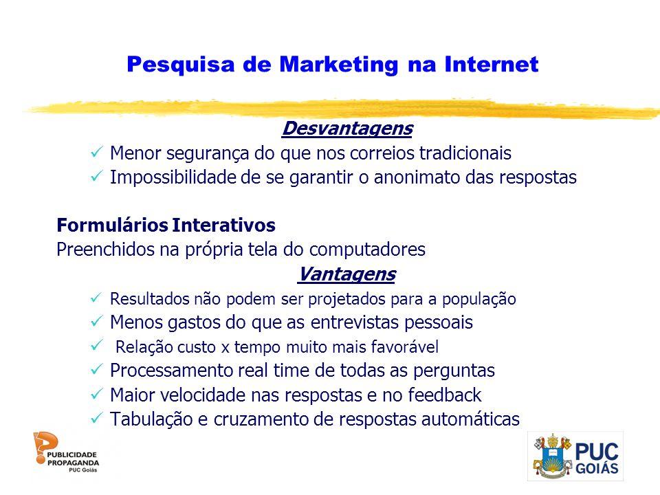 Pesquisa de Marketing na Internet Desvantagens Menor segurança do que nos correios tradicionais Impossibilidade de se garantir o anonimato das respost