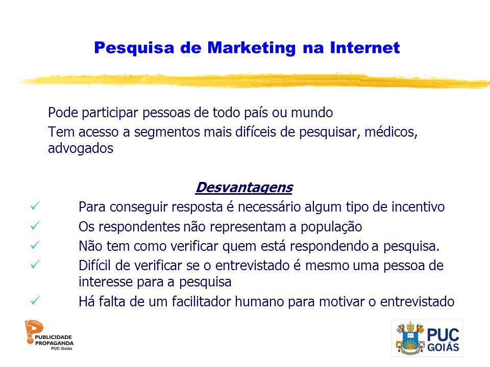 Pesquisa de Marketing na Internet Pode participar pessoas de todo país ou mundo Tem acesso a segmentos mais difíceis de pesquisar, médicos, advogados