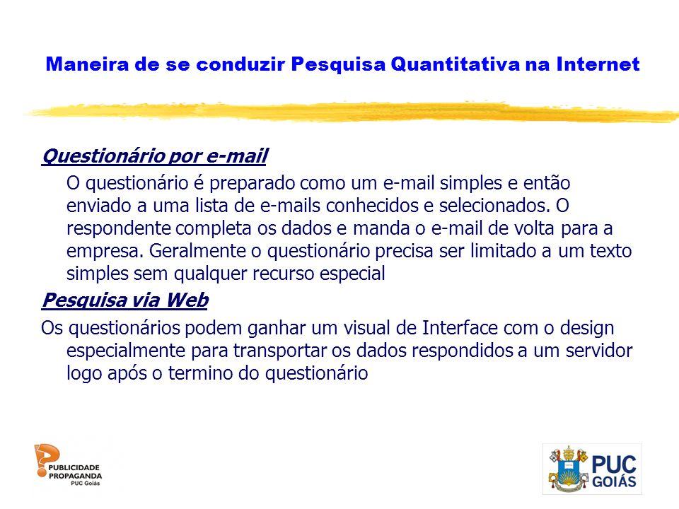 Maneira de se conduzir Pesquisa Quantitativa na Internet Questionário por e-mail O questionário é preparado como um e-mail simples e então enviado a u
