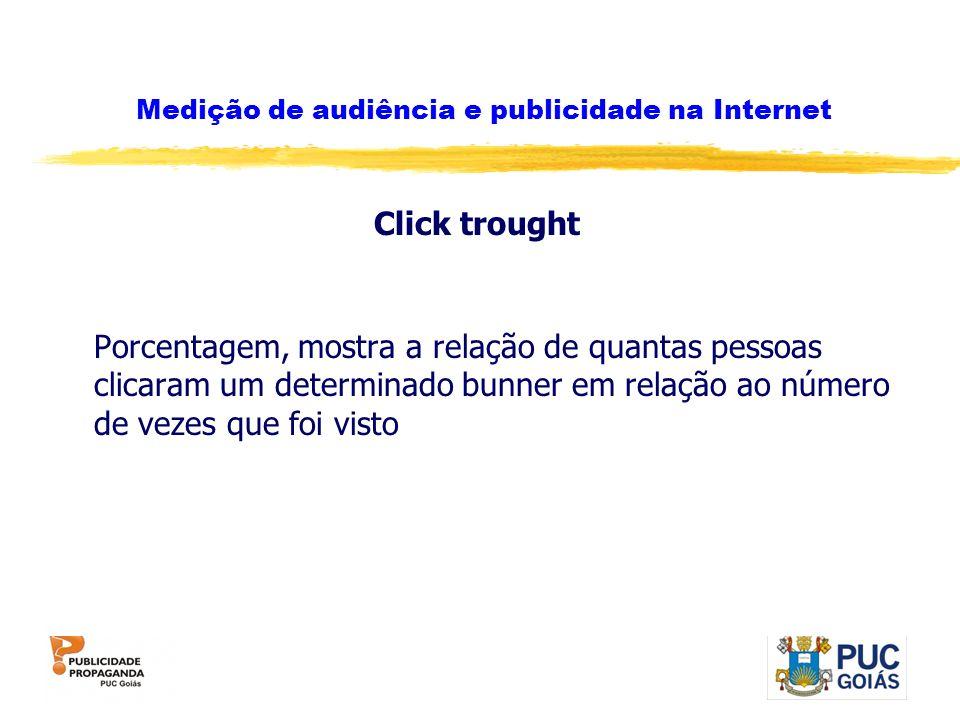 Medição de audiência e publicidade na Internet Click trought Porcentagem, mostra a relação de quantas pessoas clicaram um determinado bunner em relaçã