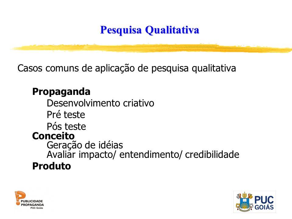 Pesquisa Qualitativa Casos comuns de aplicação de pesquisa qualitativa Propaganda Desenvolvimento criativo Pré teste Pós teste Conceito Geração de idé