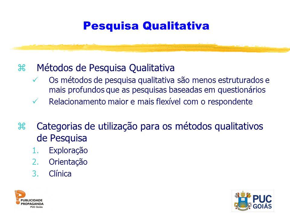 Pesquisa Qualitativa zMétodos de Pesquisa Qualitativa Os métodos de pesquisa qualitativa são menos estruturados e mais profundos que as pesquisas base