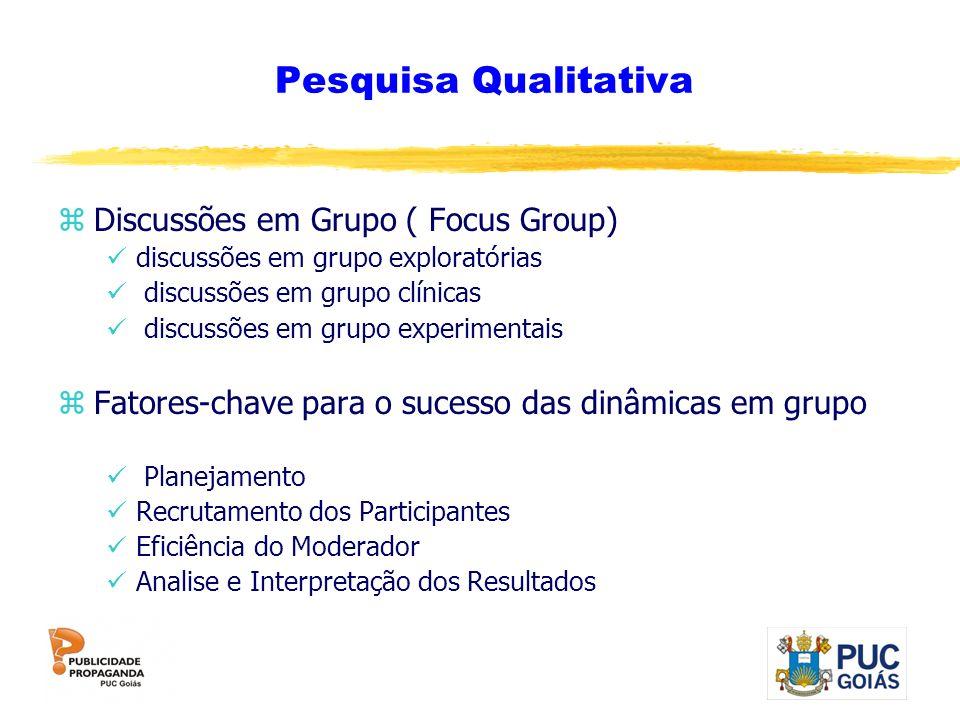 Pesquisa Qualitativa zDiscussões em Grupo ( Focus Group) discussões em grupo exploratórias discussões em grupo clínicas discussões em grupo experiment