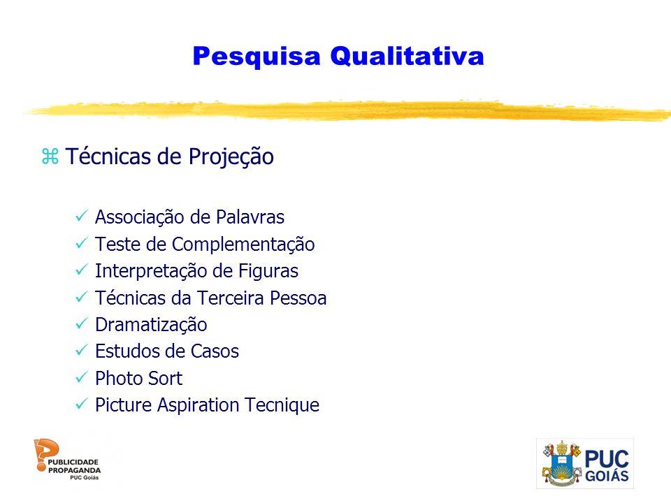 Pesquisa Qualitativa zTécnicas de Projeção Associação de Palavras Teste de Complementação Interpretação de Figuras Técnicas da Terceira Pessoa Dramati