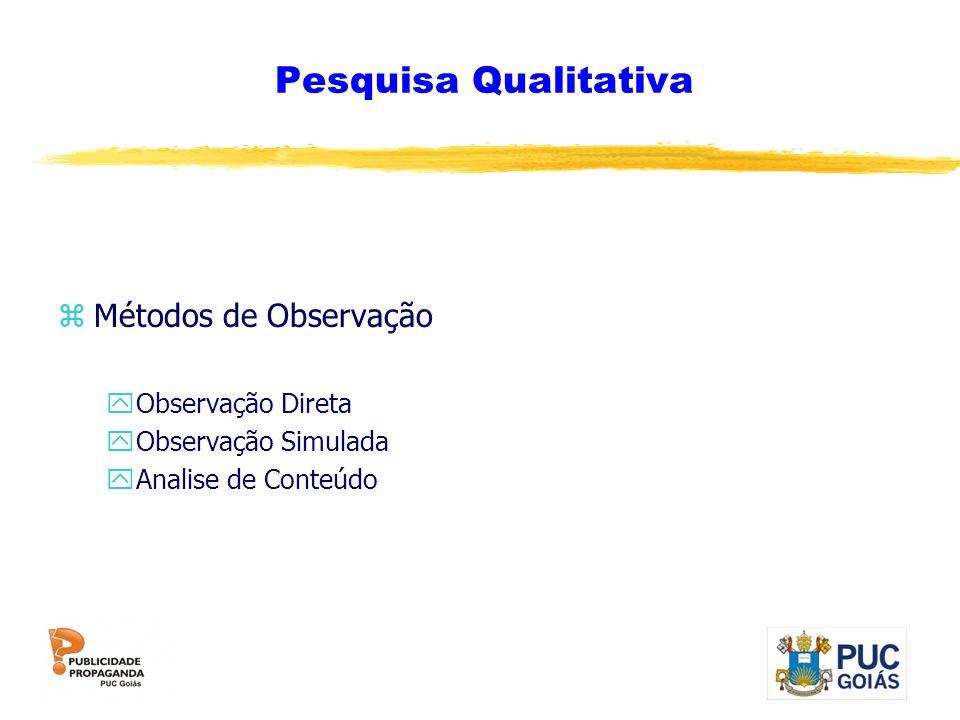 Pesquisa Qualitativa zMétodos de Observação yObservação Direta yObservação Simulada yAnalise de Conteúdo