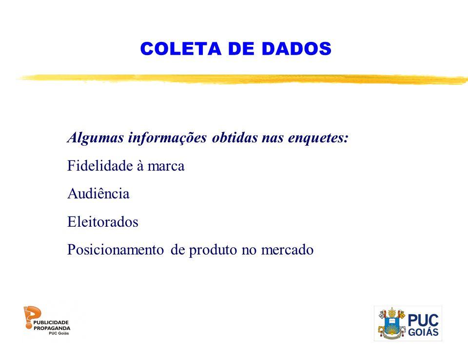 COLETA DE DADOS Algumas informações obtidas nas enquetes: Fidelidade à marca Audiência Eleitorados Posicionamento de produto no mercado