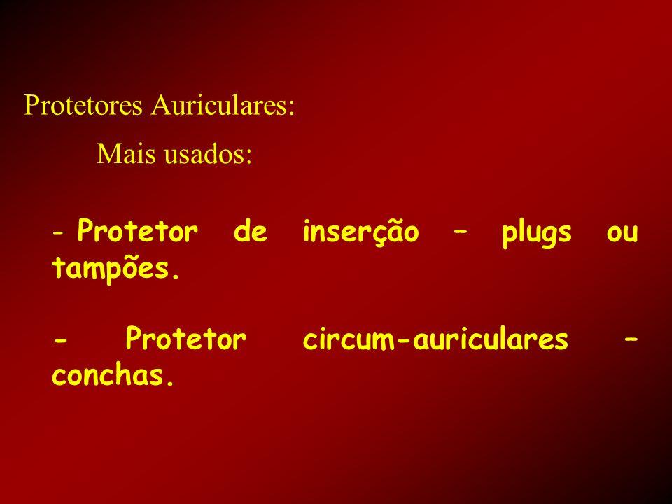 Protetores Auriculares: - Protetor de inserção – plugs ou tampões. - Protetor circum-auriculares – conchas. Mais usados: