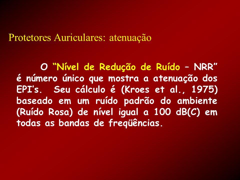 Protetores Auriculares: atenuação O Nível de Redução de Ruído – NRR é número único que mostra a atenuação dos EPIs. Seu cálculo é (Kroes et al., 1975)