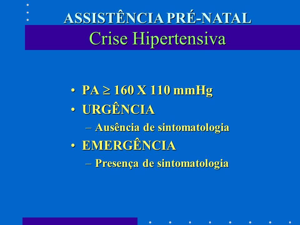 Crise Hipertensiva PA 160 X 110 mmHgPA 160 X 110 mmHg URGÊNCIAURGÊNCIA –Ausência de sintomatologia EMERGÊNCIAEMERGÊNCIA –Presença de sintomatologia AS