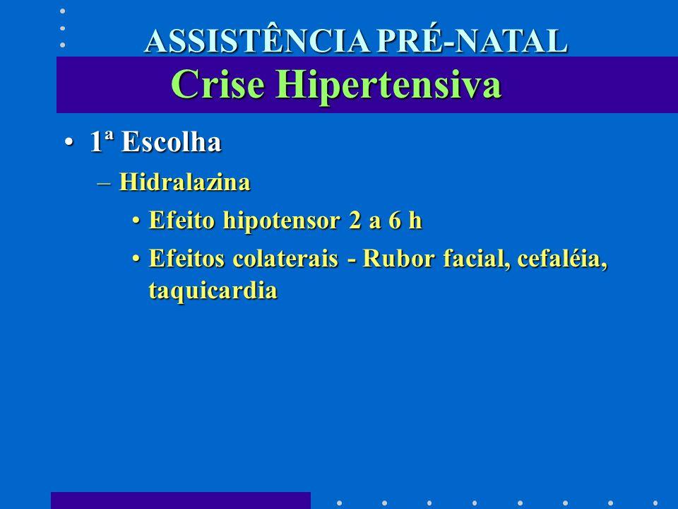 1ª Escolha1ª Escolha –Hidralazina Efeito hipotensor 2 a 6 hEfeito hipotensor 2 a 6 h Efeitos colaterais - Rubor facial, cefaléia, taquicardiaEfeitos c
