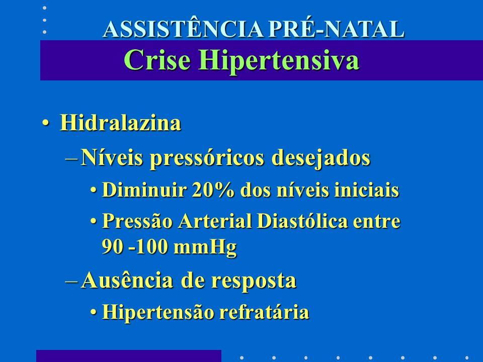 HidralazinaHidralazina –Níveis pressóricos desejados Diminuir 20% dos níveis iniciaisDiminuir 20% dos níveis iniciais Pressão Arterial Diastólica entr
