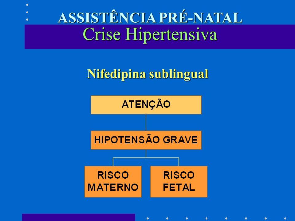 Nifedipina sublingual Crise Hipertensiva ASSISTÊNCIA PRÉ-NATAL