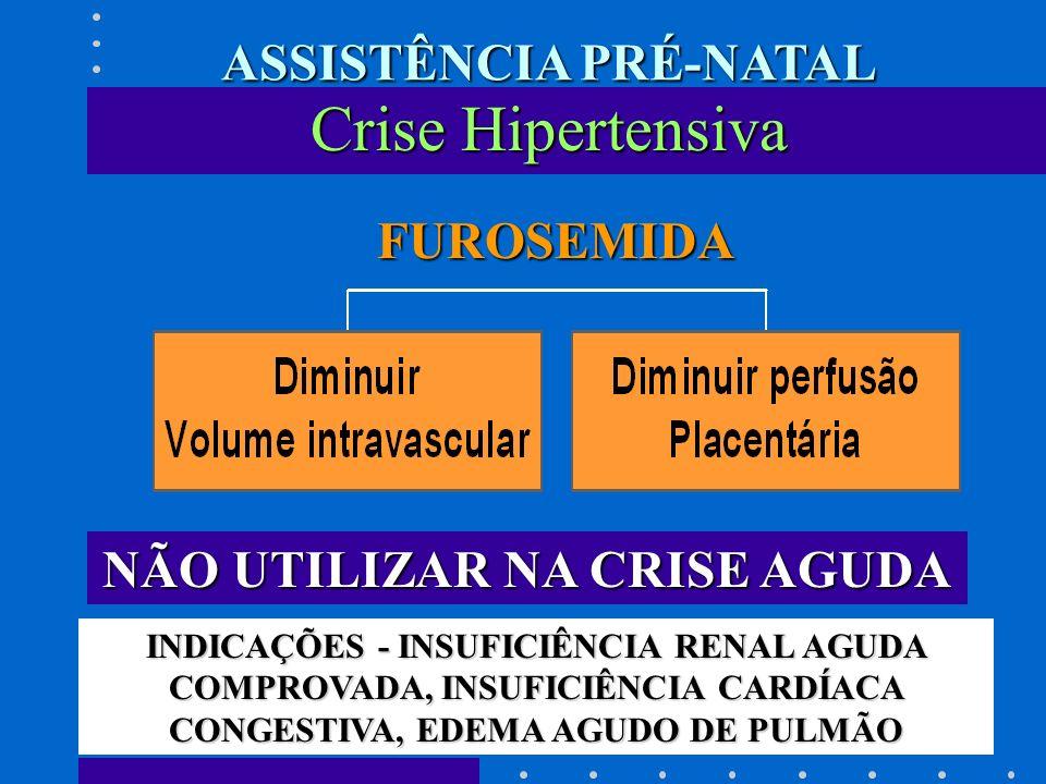 FUROSEMIDA FUROSEMIDA NÃO UTILIZAR NA CRISE AGUDA INDICAÇÕES - INSUFICIÊNCIA RENAL AGUDA COMPROVADA, INSUFICIÊNCIA CARDÍACA CONGESTIVA, EDEMA AGUDO DE