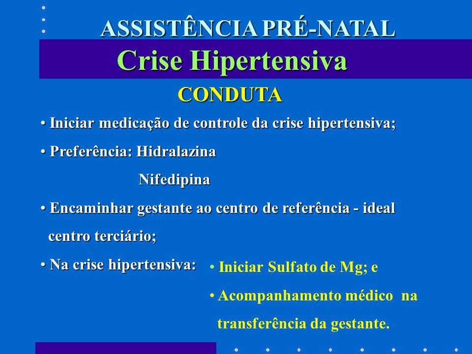 Crise Hipertensiva CONDUTA Iniciar medicação de controle da crise hipertensiva; Iniciar medicação de controle da crise hipertensiva; Preferência: Hidr