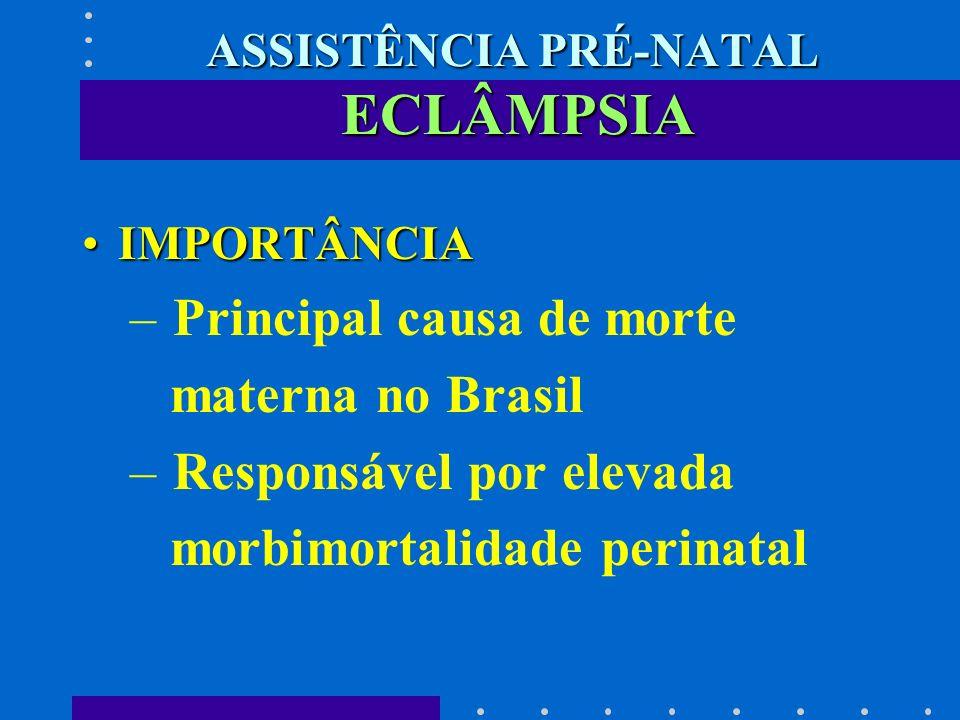 ASSISTÊNCIA PRÉ-NATAL ECLÂMPSIA IMPORTÂNCIAIMPORTÂNCIA – Principal causa de morte materna no Brasil – Responsável por elevada morbimortalidade perinat