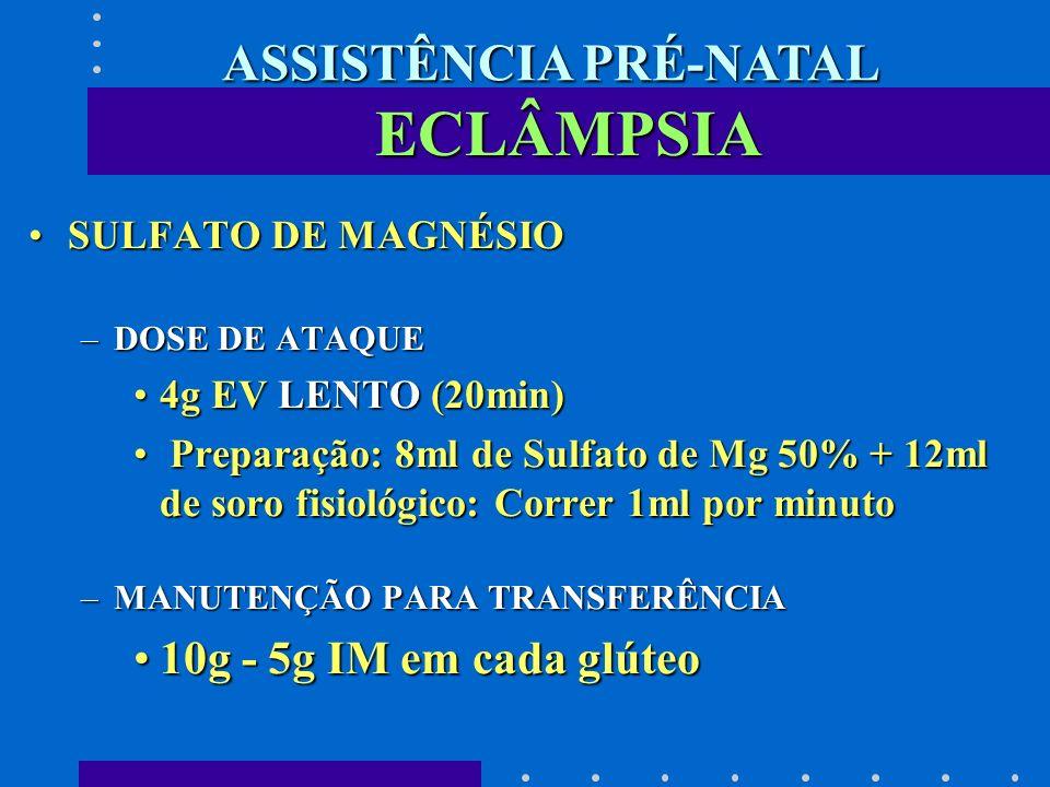 ECLÂMPSIA SULFATO DE MAGNÉSIOSULFATO DE MAGNÉSIO –DOSE DE ATAQUE 4g EV LENTO (20min)4g EV LENTO (20min) Preparação: 8ml de Sulfato de Mg 50% + 12ml de