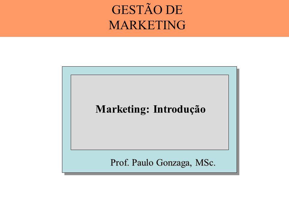 Prof. Paulo Gonzaga, MSc. Marketing: Introdução GESTÃO DE MARKETING