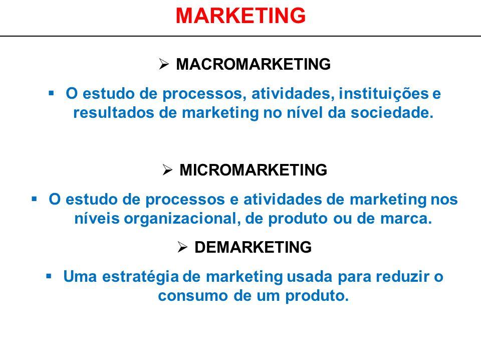 MARKETING MACROMARKETING O estudo de processos, atividades, instituições e resultados de marketing no nível da sociedade. MICROMARKETING O estudo de p