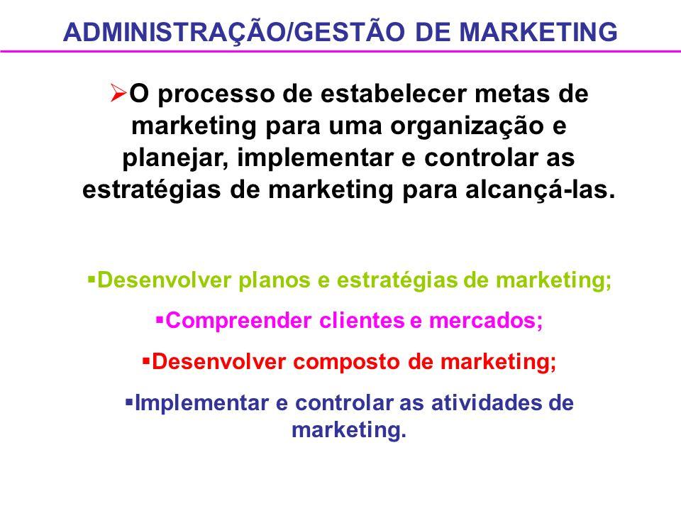 ADMINISTRAÇÃO/GESTÃO DE MARKETING O processo de estabelecer metas de marketing para uma organização e planejar, implementar e controlar as estratégias