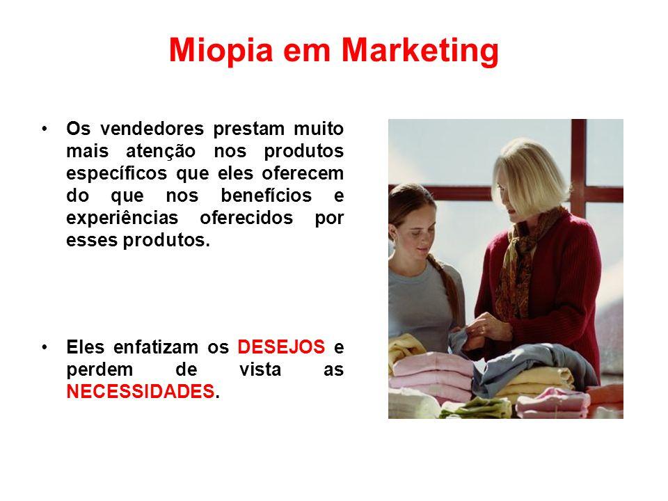 Miopia em Marketing Os vendedores prestam muito mais atenção nos produtos específicos que eles oferecem do que nos benefícios e experiências oferecido