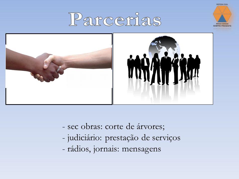 - sec obras: corte de árvores; - judiciário: prestação de serviços - rádios, jornais: mensagens