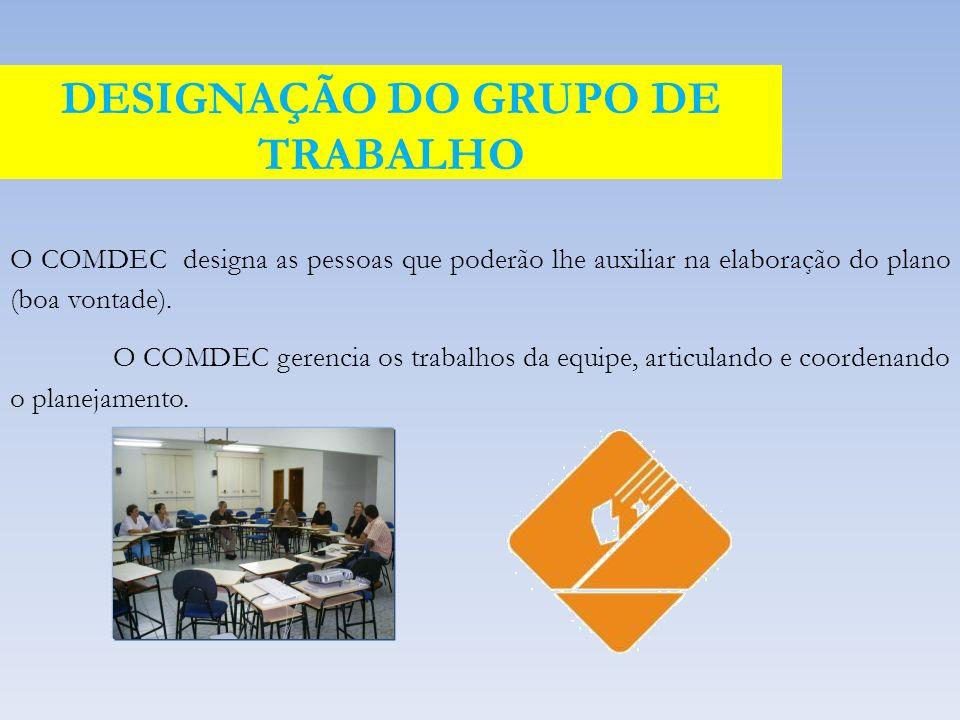 O COMDEC designa as pessoas que poderão lhe auxiliar na elaboração do plano (boa vontade).