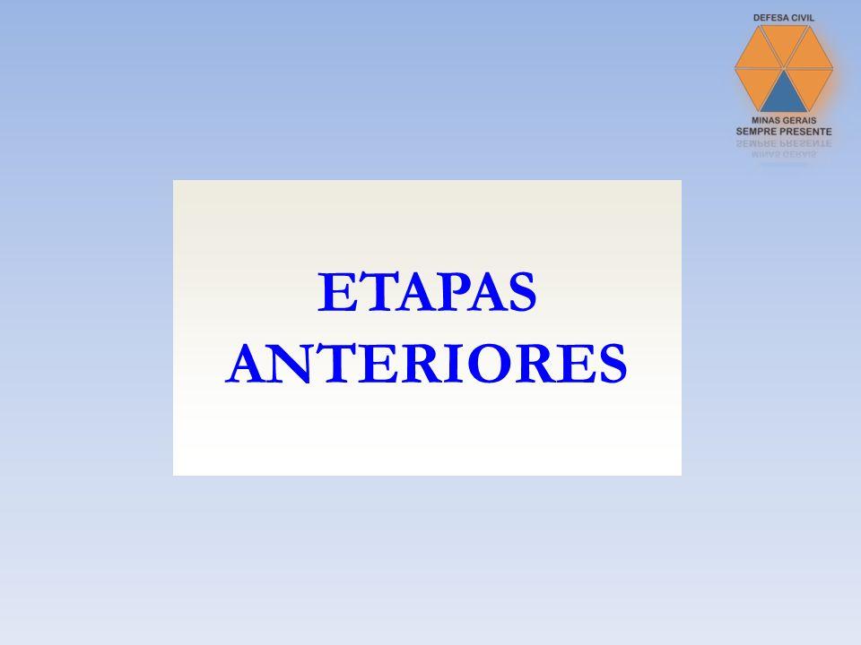 Mapeamento de áreas de risco ETAPAS ANTERIORES