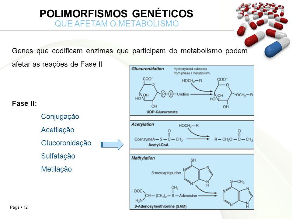 Page 12 POLIMORFISMOS GENÉTICOS QUE AFETAM O METABOLISMO Genes que codificam enzimas que participam do metabolismo podem afetar as reações de Fase II Fase II: Conjugação Acetilação Glucoronidação Sulfatação Metilação