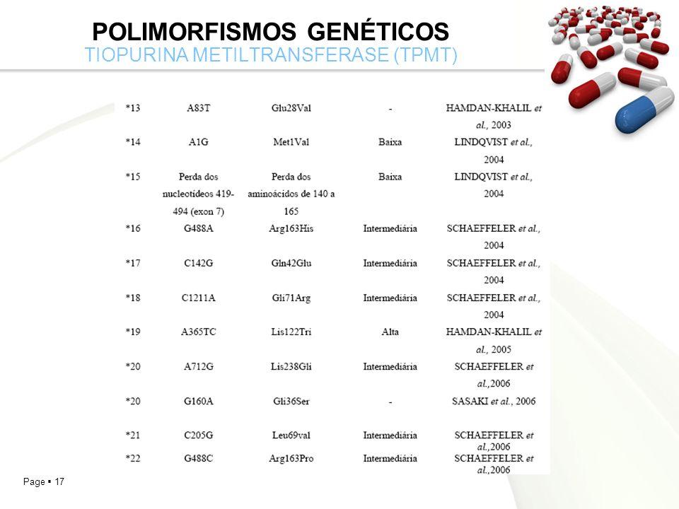 Page 17 POLIMORFISMOS GENÉTICOS TIOPURINA METILTRANSFERASE (TPMT)