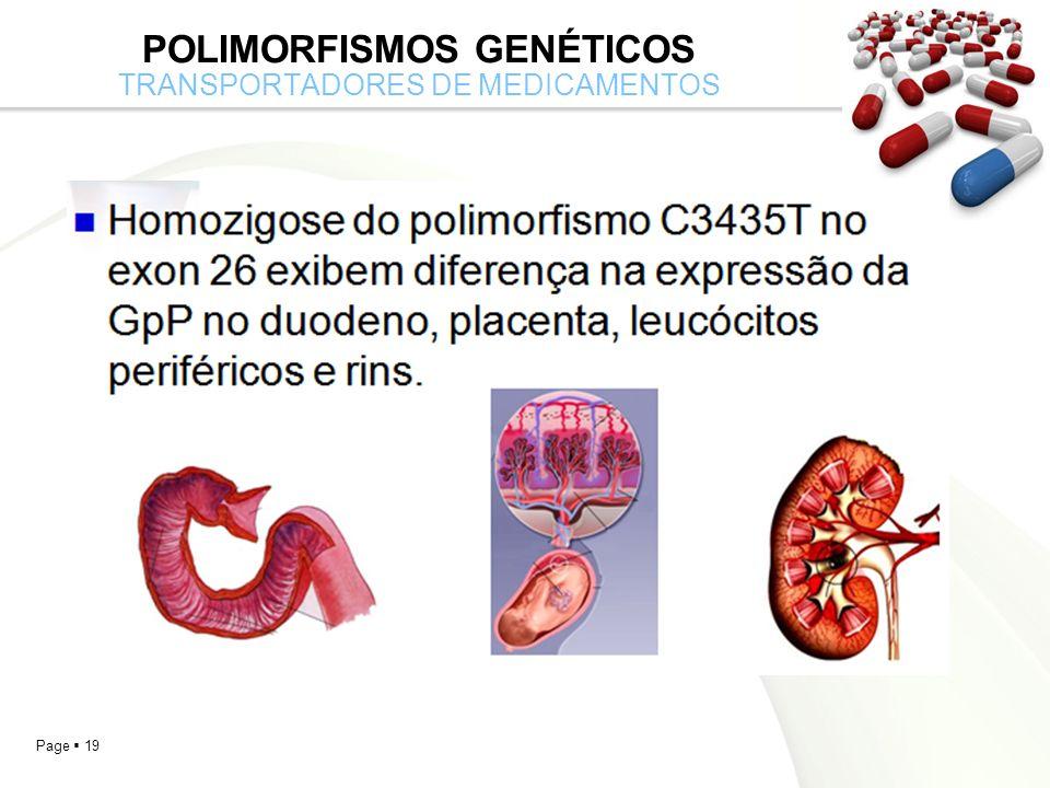 Page 19 POLIMORFISMOS GENÉTICOS TRANSPORTADORES DE MEDICAMENTOS