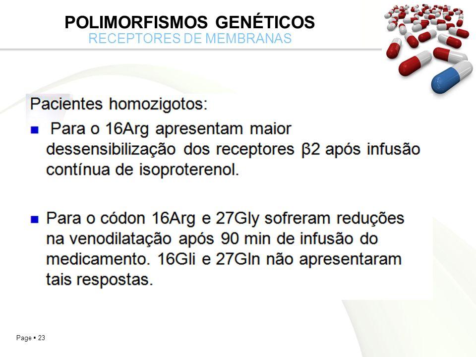 Page 23 POLIMORFISMOS GENÉTICOS RECEPTORES DE MEMBRANAS