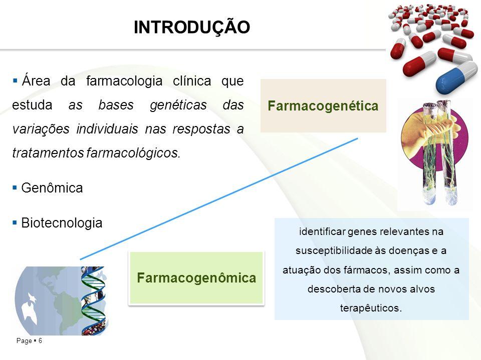 Page 6 INTRODUÇÃO Área da farmacologia clínica que estuda as bases genéticas das variações individuais nas respostas a tratamentos farmacológicos.