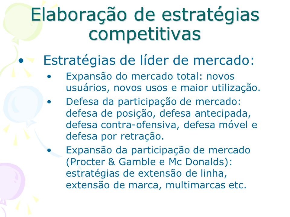 Estrutura de Mercado Hipotética 40% Líder de mercado 30% Desafiante de mercado 20% Seguidora de mercado Expansão do mercado Defesa da participação de
