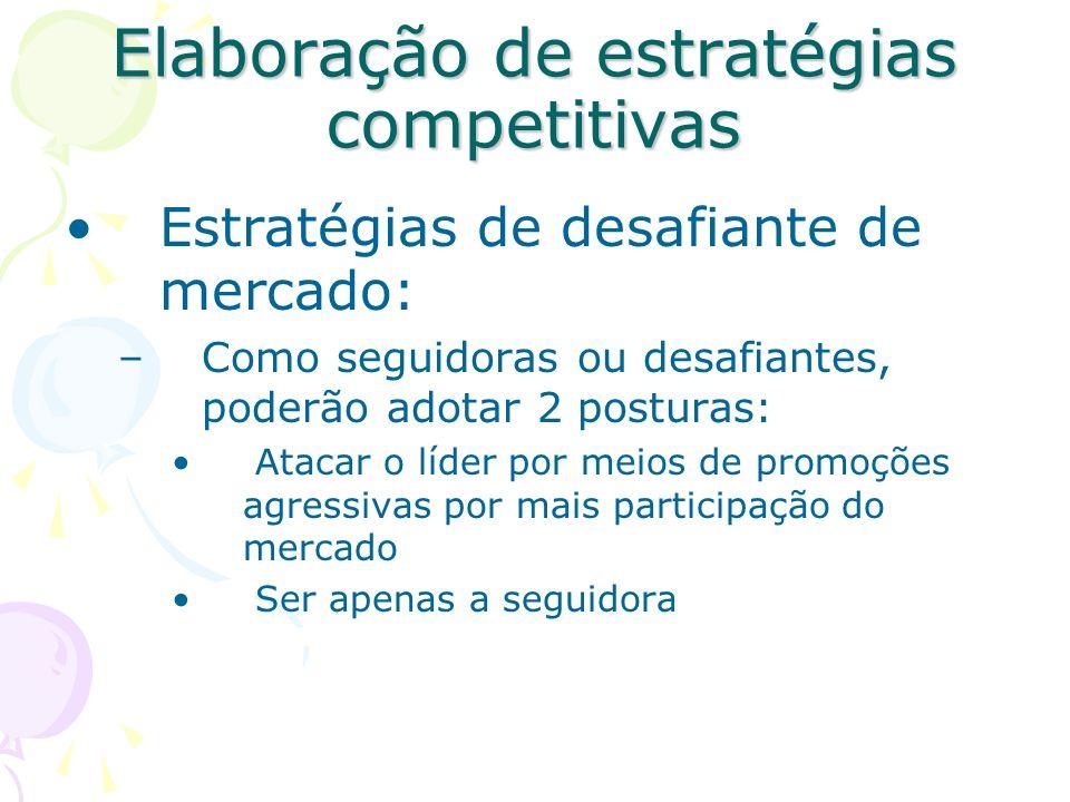 Elaboração de estratégias competitivas Estratégias de líder de mercado: Expansão do mercado total: novos usuários, novos usos e maior utilização. Defe