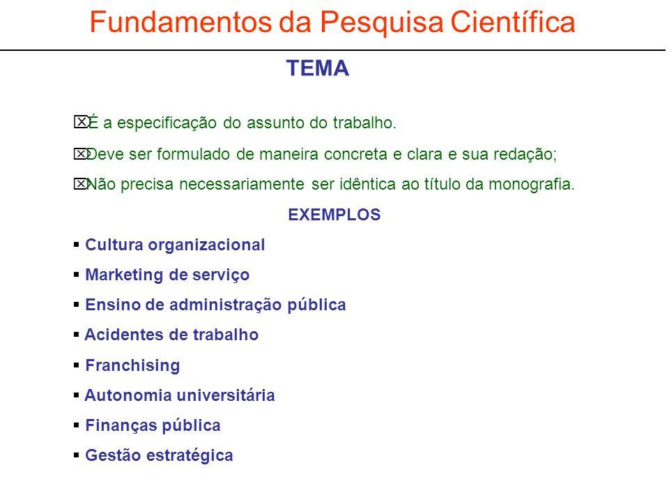 Fundamentos da Pesquisa Científica É a especificação do assunto do trabalho. Deve ser formulado de maneira concreta e clara e sua redação; Não precisa