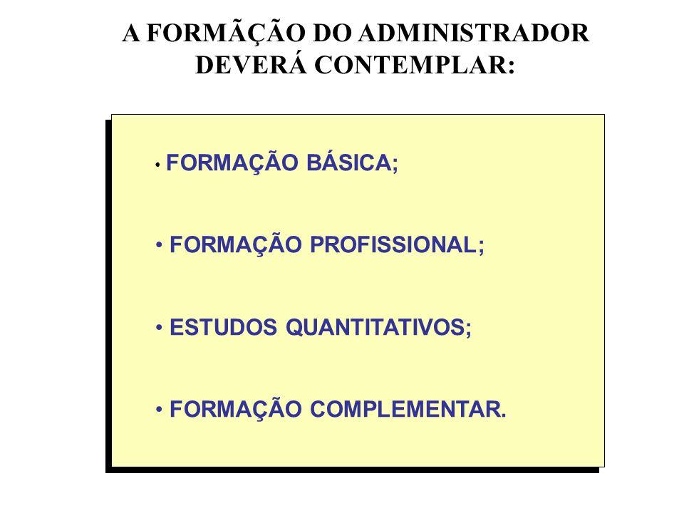 A FORMÃÇÃO DO ADMINISTRADOR DEVERÁ CONTEMPLAR: FORMAÇÃO BÁSICA; FORMAÇÃO PROFISSIONAL; ESTUDOS QUANTITATIVOS; FORMAÇÃO COMPLEMENTAR.