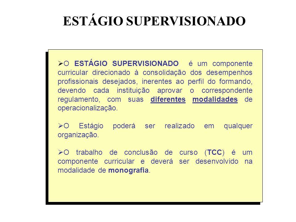 ESTÁGIO SUPERVISIONADO O ESTÁGIO SUPERVISIONADO é um componente curricular direcionado à consolidação dos desempenhos profissionais desejados, inerent