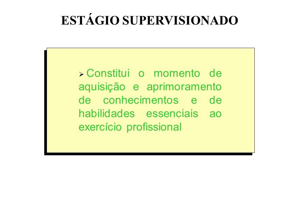 ESTÁGIO SUPERVISIONADO Constitui o momento de aquisição e aprimoramento de conhecimentos e de habilidades essenciais ao exercício profissional