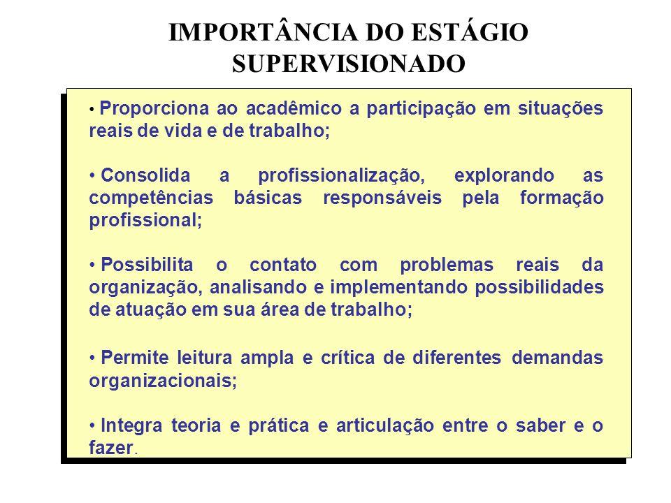 IMPORTÂNCIA DO ESTÁGIO SUPERVISIONADO Proporciona ao acadêmico a participação em situações reais de vida e de trabalho; Consolida a profissionalização