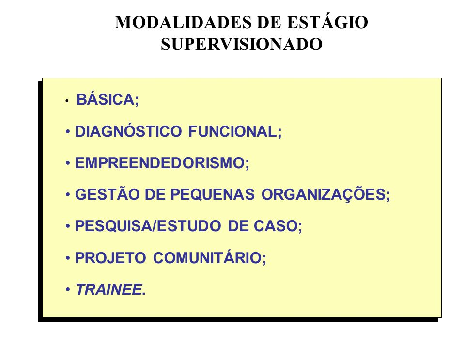 MODALIDADES DE ESTÁGIO SUPERVISIONADO BÁSICA; DIAGNÓSTICO FUNCIONAL; EMPREENDEDORISMO; GESTÃO DE PEQUENAS ORGANIZAÇÕES; PESQUISA/ESTUDO DE CASO; PROJE