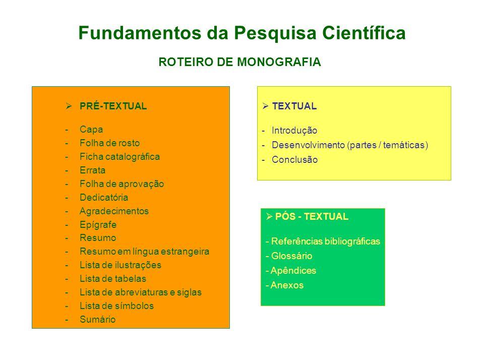 Fundamentos da Pesquisa Científica PRÉ-TEXTUAL -Capa -Folha de rosto -Ficha catalográfica -Errata -Folha de aprovação -Dedicatória -Agradecimentos -Ep